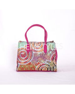 Loincloth Woodin and pink velvet handbag