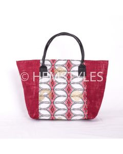 Red hessian handbag