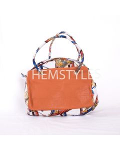 Double face Woodin and leather handbag