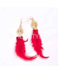 Feather earrings-Rouge
