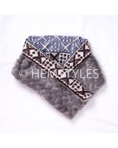 Grey fur and Woodin scarf V-neck